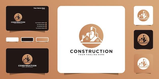 Construção de prédios altos e logotipos urbanos, logotipos de design e cartões de visita