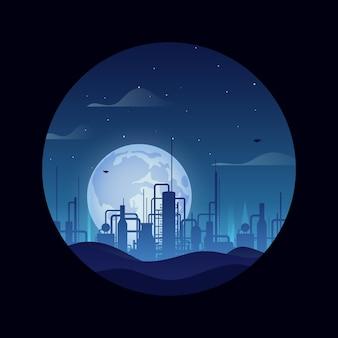 Construção de refinaria de petróleo sobre fundo de vetor de estilo retro de noite de lua