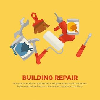 Construção de reparação plana coleção de equipamentos