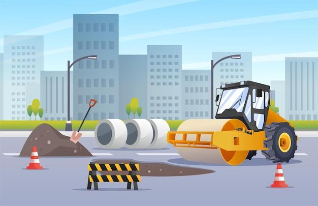 Construção de rodovia de asfaltamento compactador rolo compressor em ilustração de cidade urbana