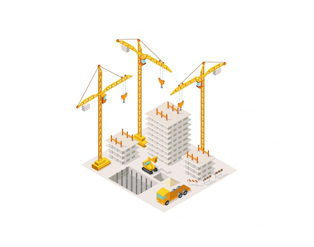 Construção de uma casa isométrica. guindaste de elevação. processo de construção da estrutura de concreto da área de construção.