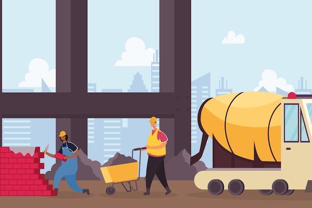 Construção de veículo betoneira e construtores trabalhando desenho de ilustração vetorial de cena