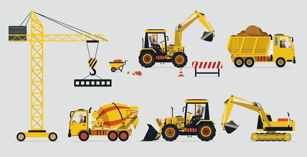 Construção de veículos e equipamentos usados na construção