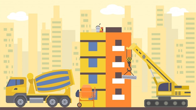 Construção do site, ilustração. crane a casa da cidade, o conceito de indústria de arquitetura doméstica e o desenvolvimento urbano.
