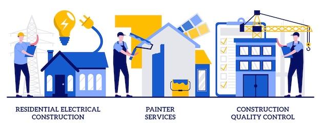 Construção elétrica residencial, serviços de pintor, conceito de controle de qualidade de construção com pessoas minúsculas. conjunto de ilustração de renovação de casa. metáfora do interior, exterior, iluminação e eletrodomésticos.