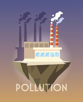 Construção industrial sobre o terreno, poluição ambiental