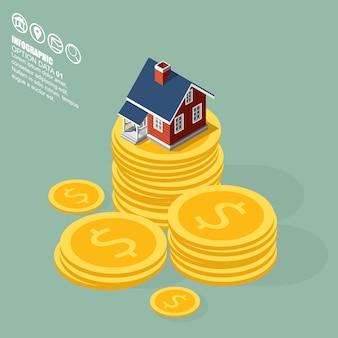 Construção isométrica do negócio dos bens imobiliários e da propriedade.