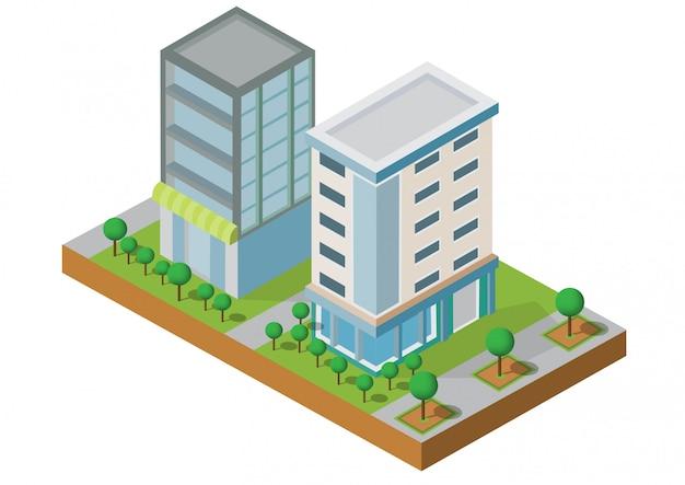 Construção isométrica. dois edifício na jarda com road.building 3d, cidade inteligente, escritório e apartamento da cidade.