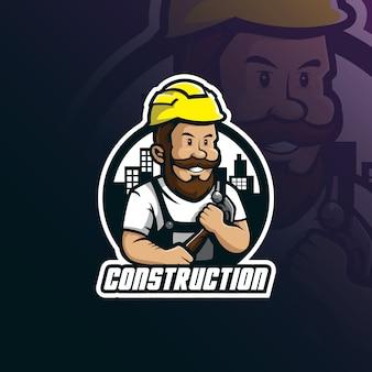 Construção mascote projeto logo vector com estilo moderno conceito de distintivos, emblemas e impressão de camiseta