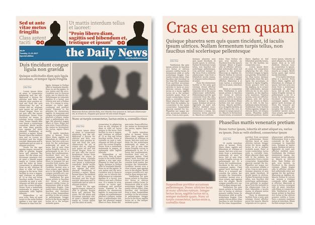 Construção modular de diário de jornal com modelo de vetor de informação de publicidade