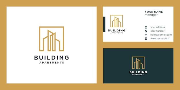 Construção ou logotipo da construção e design de cartão de visita