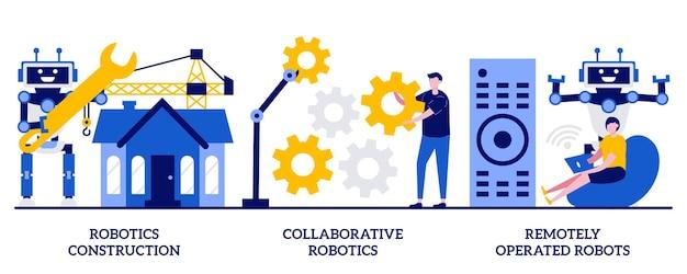 Construção robótica, robótica colaborativa, conceito de robôs operados remotamente com pessoas minúsculas. trabalho de máquina, desenvolvimento de indústria inteligente, conjunto de ilustração vetorial abstrato de inteligência artificial.