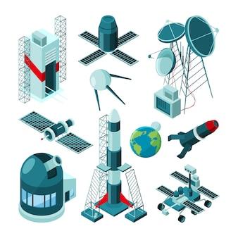 Construções diferentes no centro espacial para o lançamento de foguetes.