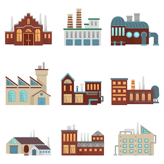 Construções industriais da fábrica com tubulação e ambiente mau.