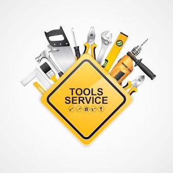 Construction concept set tools supplies for construtor de construção