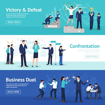 Constructive business confrontation flat banners set