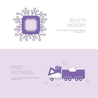 Construído em memória e gravador de vídeo conceito modelo banner
