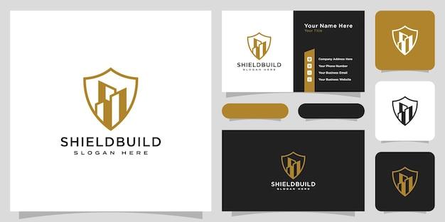 Construindo e protegendo logotipo e cartão de visita em estilo de linha