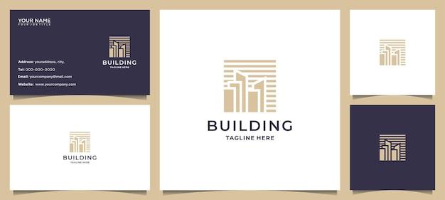 Construindo inspiração de logotipo com arte de linha de conceito e cartão de visita