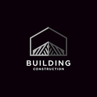 Construindo logo design ilustração construção arquitetônica premium vector