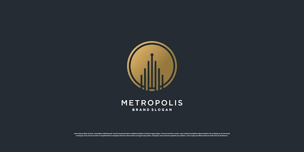 Construindo logotipo com conceito de arte de linha dourada premium vector
