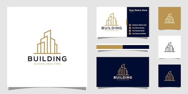 Construindo logotipo com estilo de arte de linha. design de logotipo e design de cartão de visita
