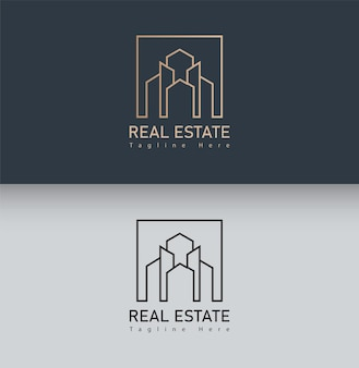 Construindo logotipo com estilo de arte de linha. resumo de construção da cidade para design de logotipo