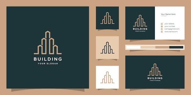 Construindo logotipo com estilo de arte de linha. resumo de construção da cidade para inspiração no design de logotipo