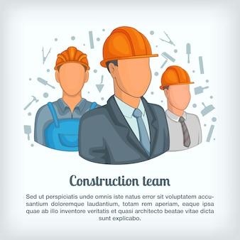 Construindo o conceito de equipe, estilo cartoon