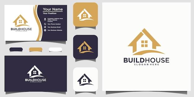 Construir casa real estate logo design vector branding template cartão de visita