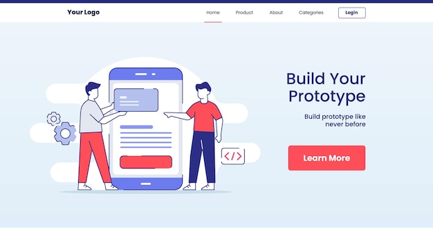 Construir conceito de protótipo de aplicativo para design de página inicial de modelo de site