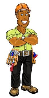 Construtor amigável com capacete e um cinto com ferramentas