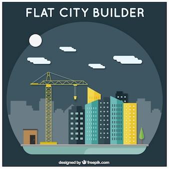 Construtor cidade plana, cena da noite