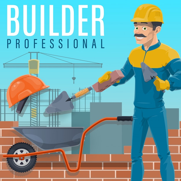Construtor colocando um tijolos no canteiro de obras