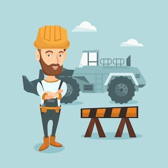 Construtor confiante com os braços cruzados.