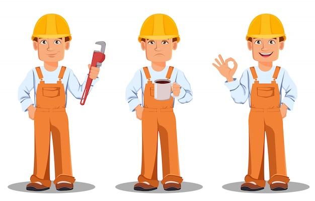 Construtor considerável no uniforme