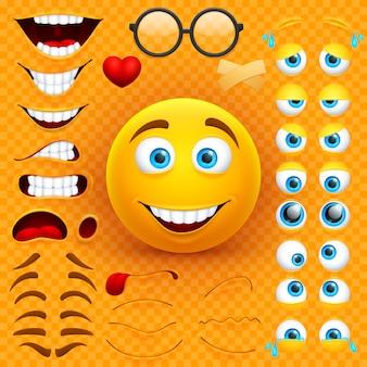 Construtor da criação do caráter do vetor da cara do smiley 3d dos desenhos animados amarelos. emoji com emoções, olhos e conjunto de bocas
