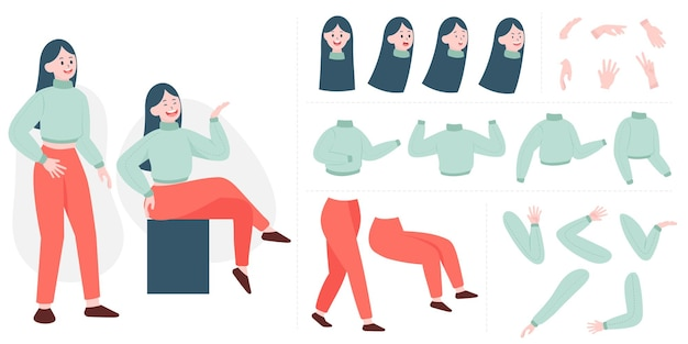 Construtor de bela jovem em estilo simples. partes do corpo, pernas e braços, enfrentam emoções. personagem de desenho animado