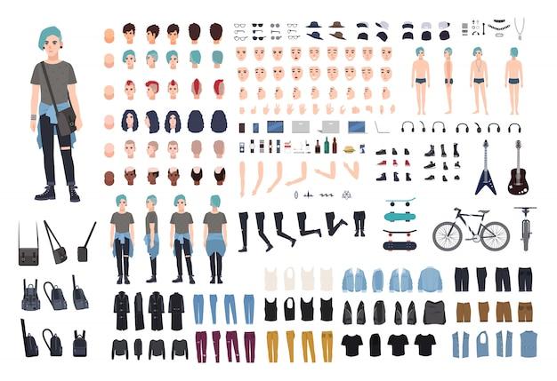 Construtor de caráter informal adolescente. conjunto de criação punk. diferentes posturas, penteado, rosto, pernas, mãos, coleção de roupas. ilustração dos desenhos animados. vista frontal, lateral e traseira.