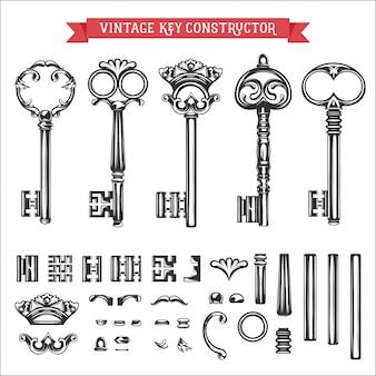 Construtor de chave vintage.