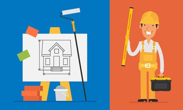 Construtor de conceito de construção detém nível e ferramentas. ilustração vetorial. definir objetos.