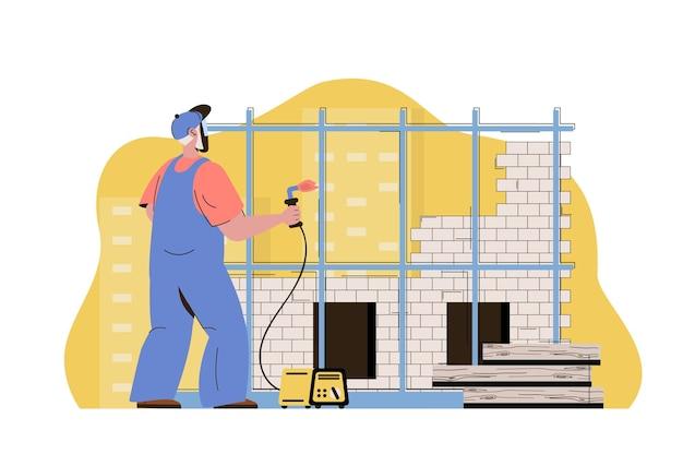 Construtor de conceito de edifício moderno trabalhando soldando estruturas metálicas