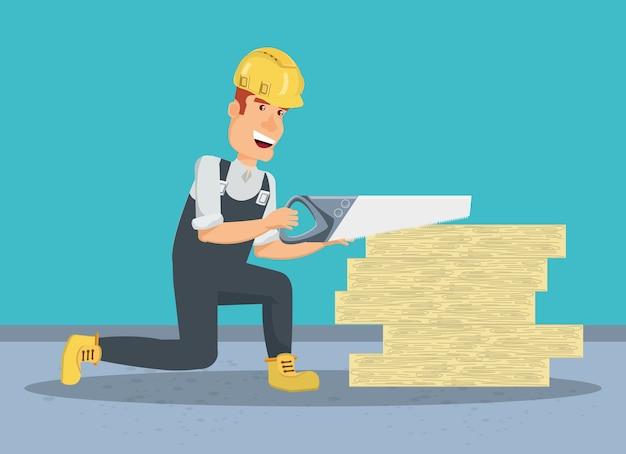 Construtor de construção cortando uma tábuas de madeira e vi