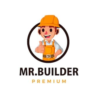 Construtor de construção polegar para cima mascote personagem logotipo ícone ilustração