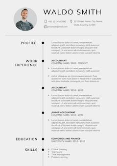 Construtor de cv modelo editável de currículo mínimo para profissionais