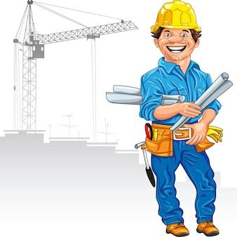 Construtor de engenheiro de vetor alegre em capacete amarelo