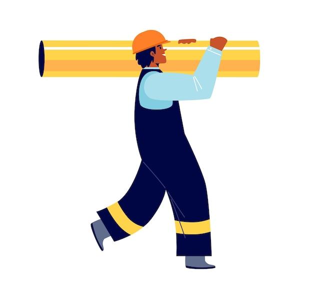 Construtor de fábricas de gás e petróleo com uniforme e capacete amarelo