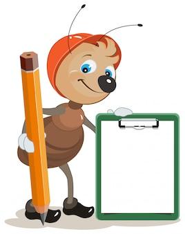 Construtor de formiga mantém a área de transferência e lápis grande
