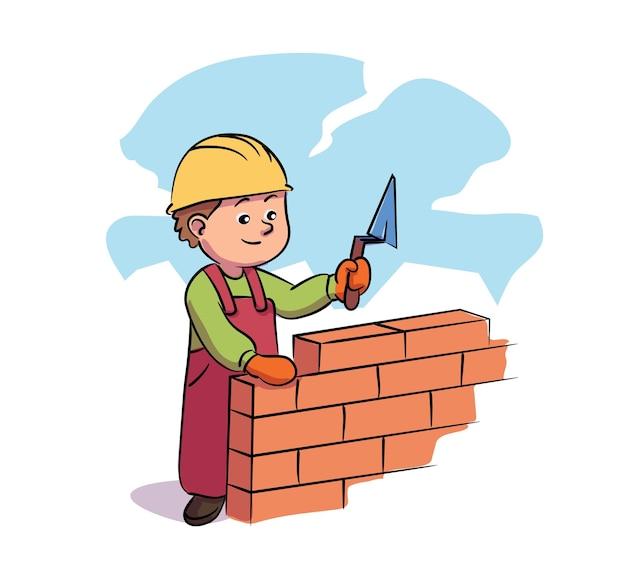 Construtor de garoto segurando uma ferramenta de nível fazendo alvenaria