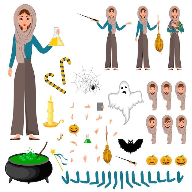 Construtor de halloween conjunto de personagens femininas. menina com atributos de férias nas mãos dela.